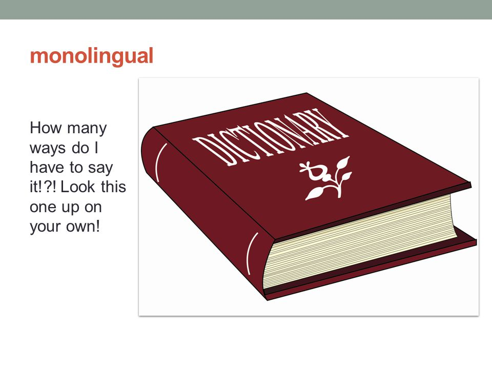 monolingual How many ways do I have to say it! ! Look this one up on your own!