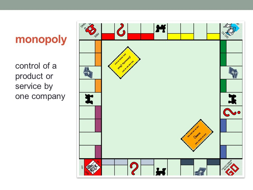 monopoly control of a product or service by one company