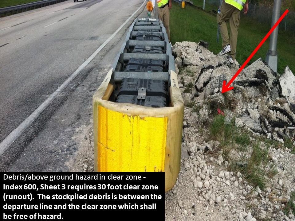 Debris/above ground hazard in clear zone - Index 600, Sheet 3 requires 30 foot clear zone (runout).