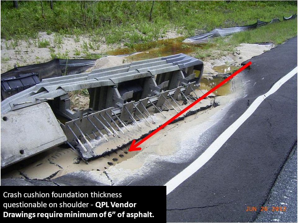Crash cushion foundation thickness questionable on shoulder - QPL Vendor Drawings require minimum of 6 of asphalt.