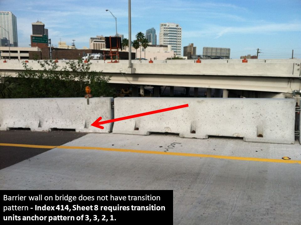 Barrier wall on bridge does not have transition pattern - Index 414, Sheet 8 requires transition units anchor pattern of 3, 3, 2, 1.