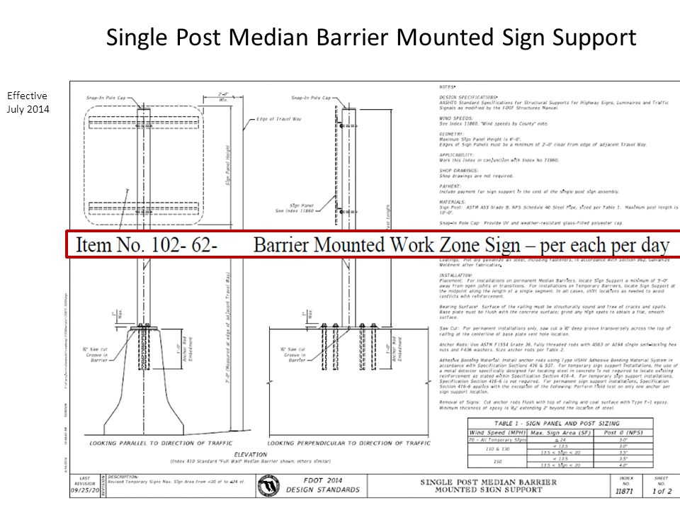 Single Post Median Barrier Mounted Sign Support