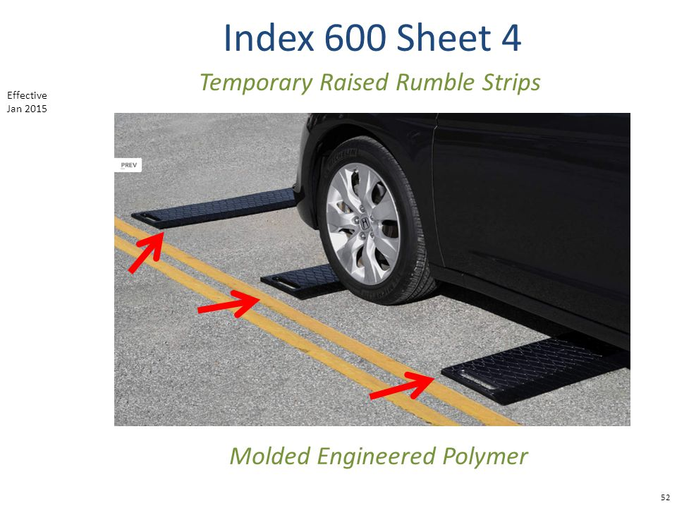 Index 600 Sheet 4 Temporary Raised Rumble Strips