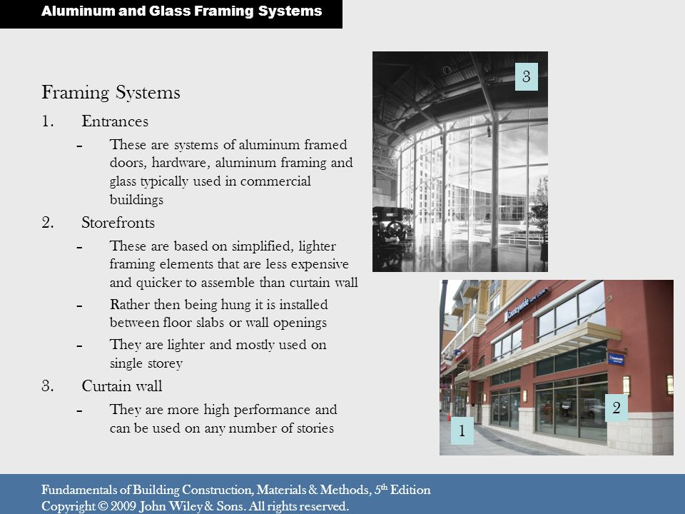 Framing Systems 3 Entrances Storefronts Curtain wall 2 1