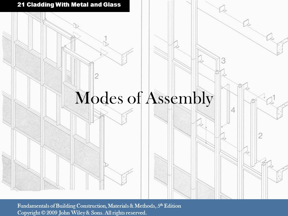 Modes of Assembly 21 Cladding With Metal and Glass