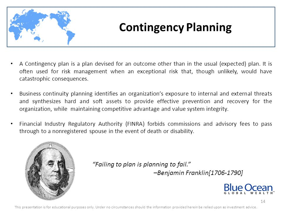 Contingency Planning Failing to plan is planning to fail.