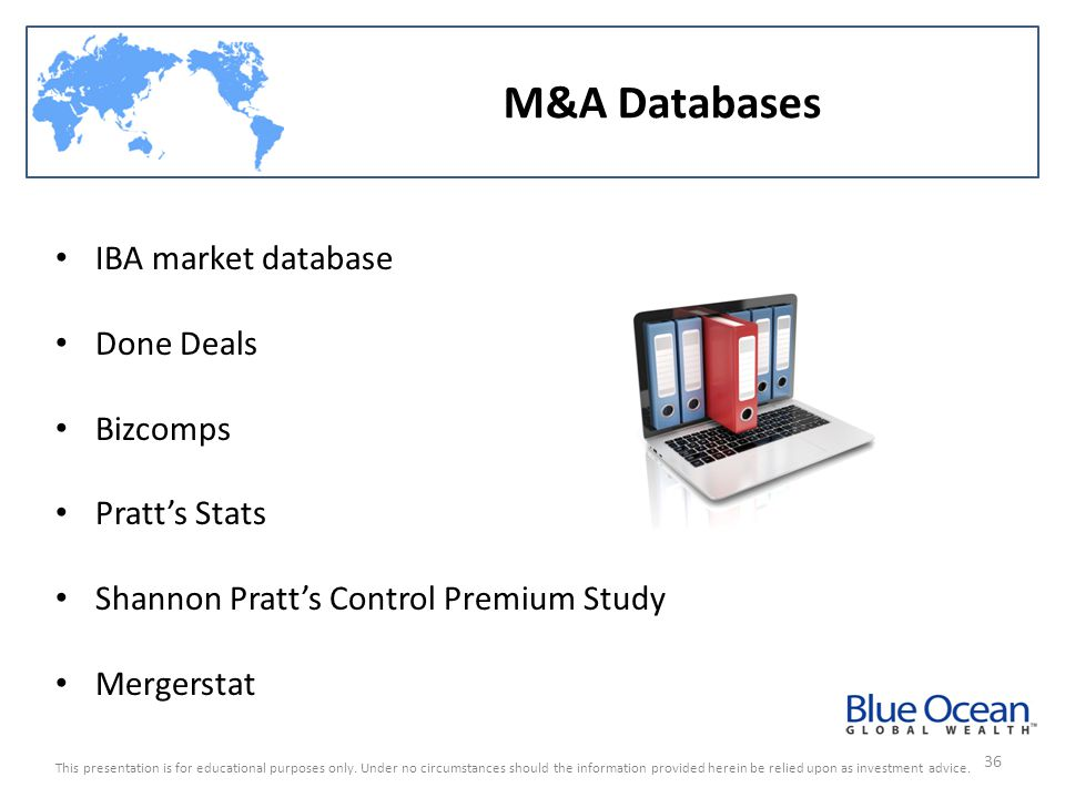 M&A Databases IBA market database Done Deals Bizcomps Pratt's Stats