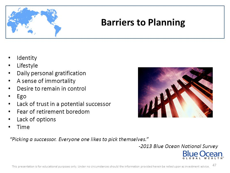 Barriers to Planning Identity Lifestyle Daily personal gratification