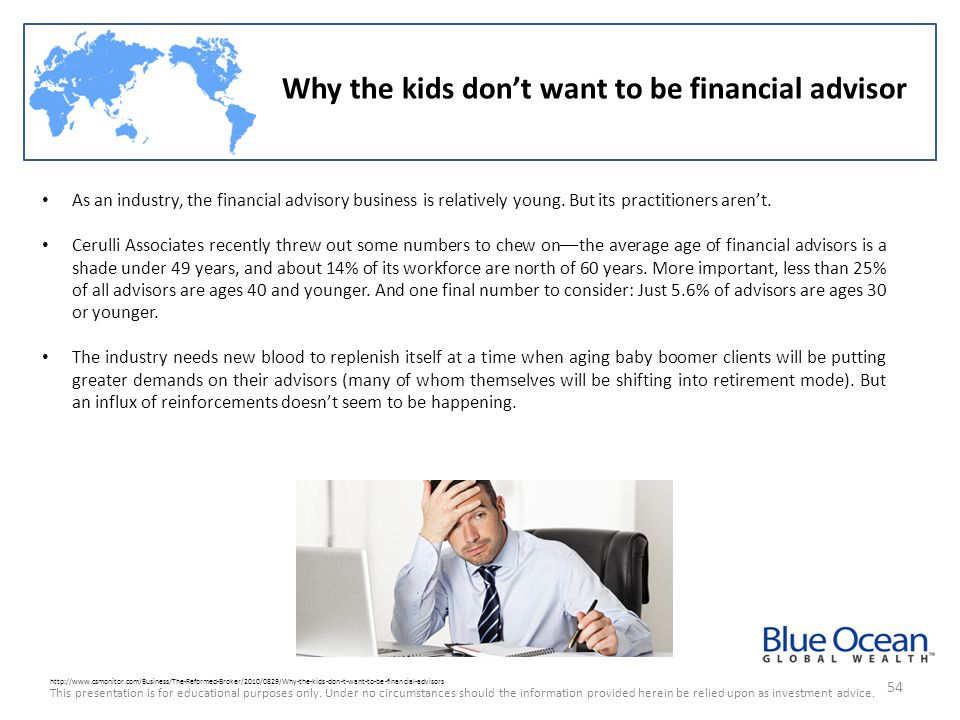 Why the kids don't want to be financial advisor