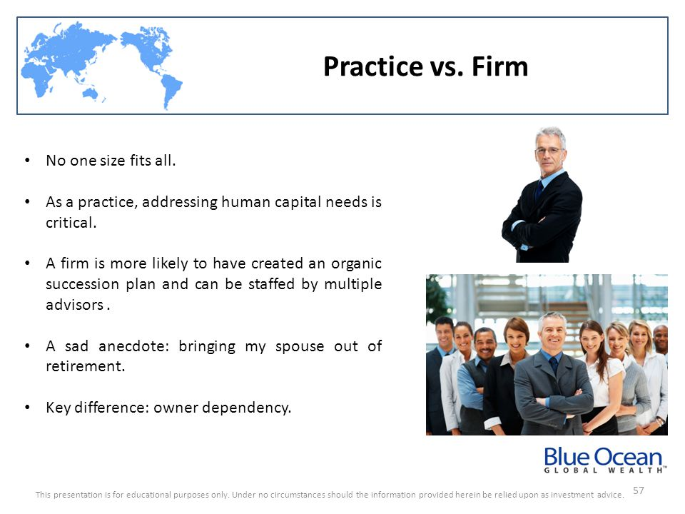 Practice vs. Firm No one size fits all.