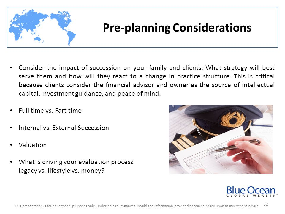 Pre-planning Considerations