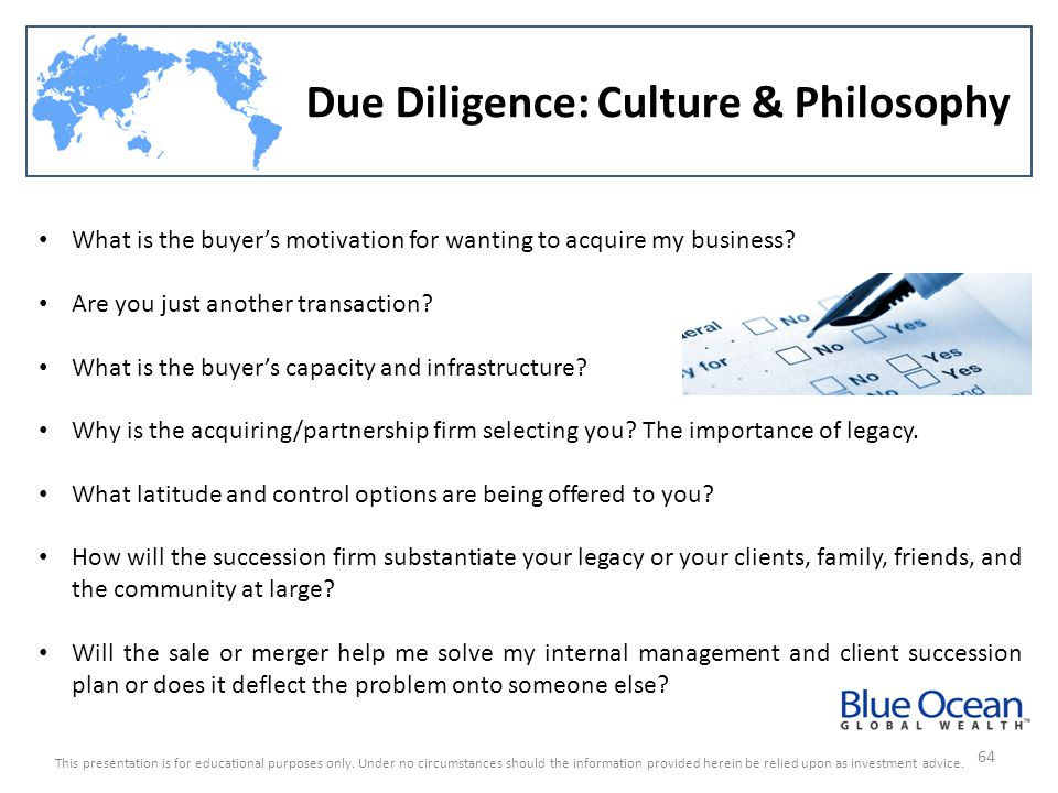 Due Diligence: Culture & Philosophy