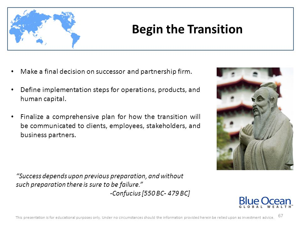 Begin the Transition Make a final decision on successor and partnership firm.