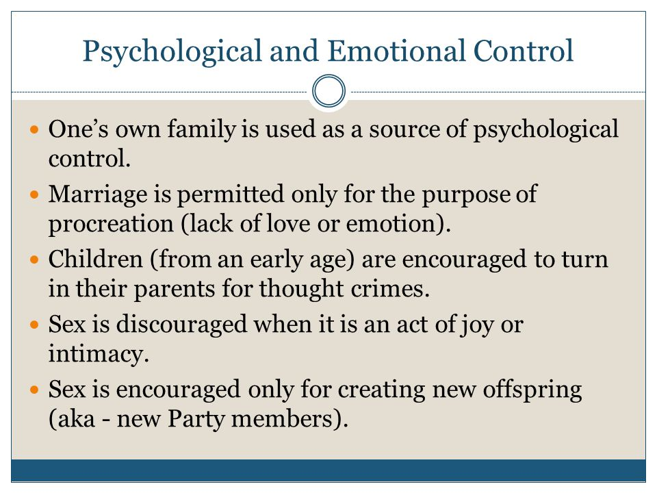 Psychological and Emotional Control