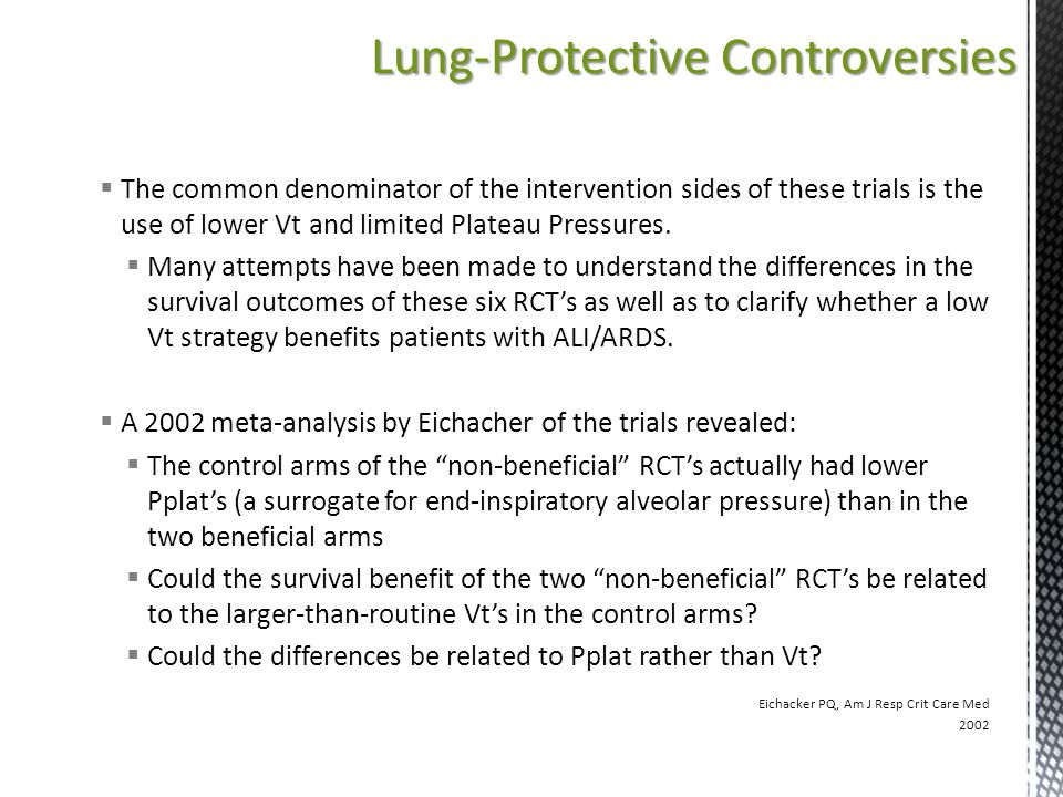 Lung-Protective Controversies