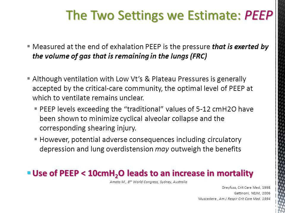 The Two Settings we Estimate: PEEP