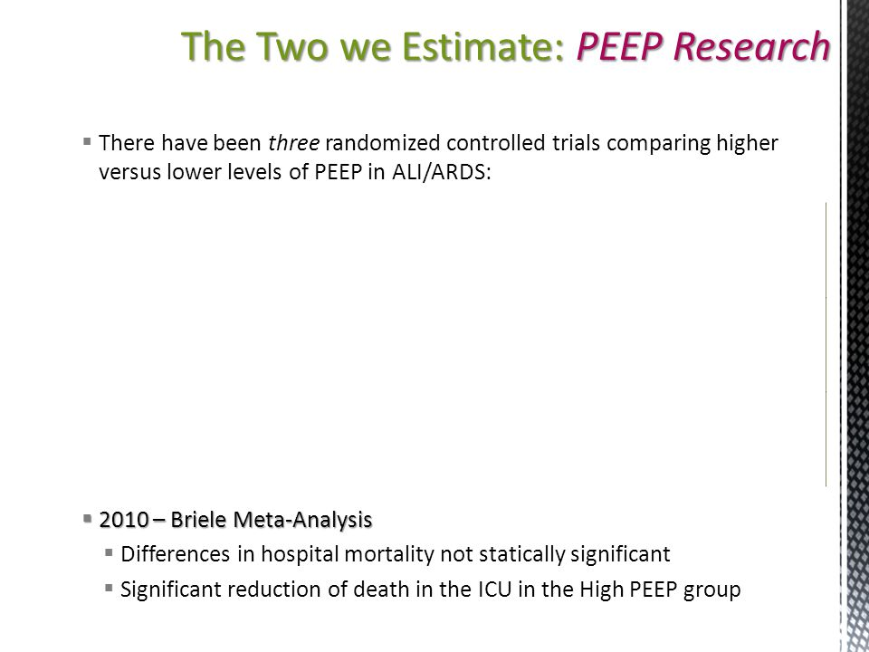 The Two we Estimate: PEEP Research