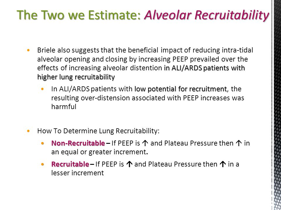 The Two we Estimate: Alveolar Recruitability
