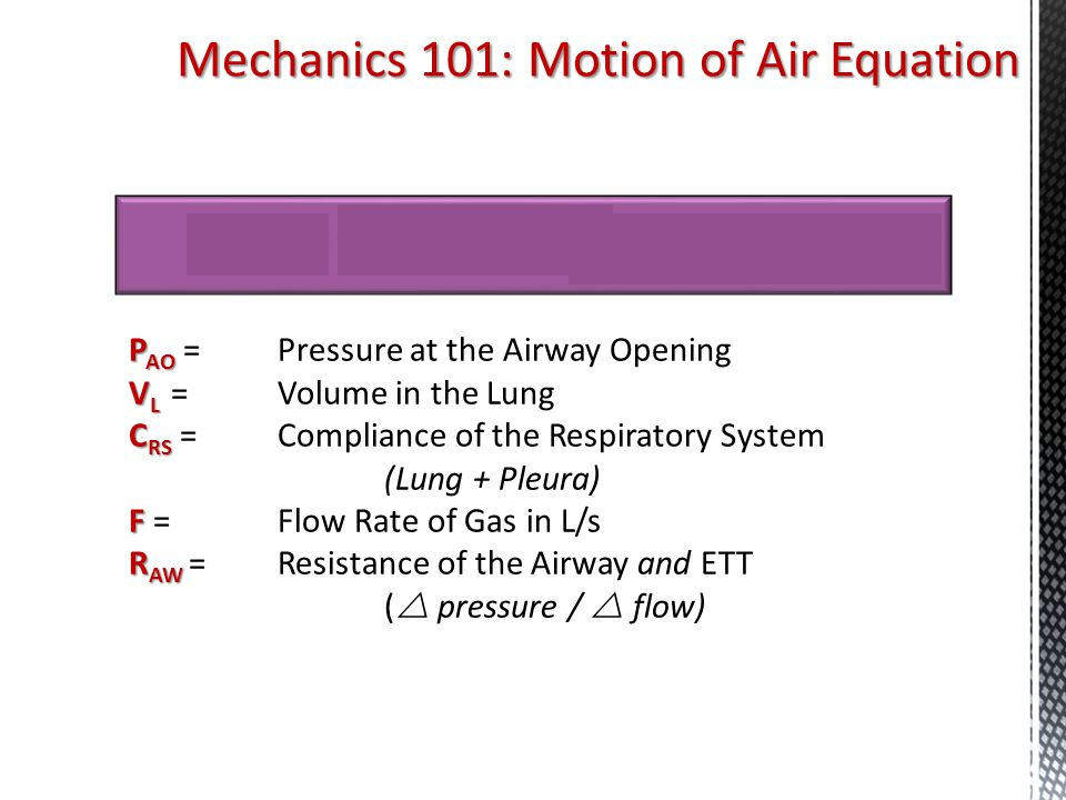 Mechanics 101: Motion of Air Equation