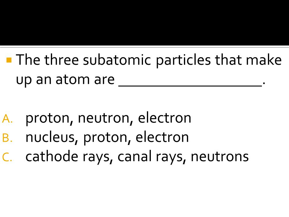 The three subatomic particles that make up an atom are .