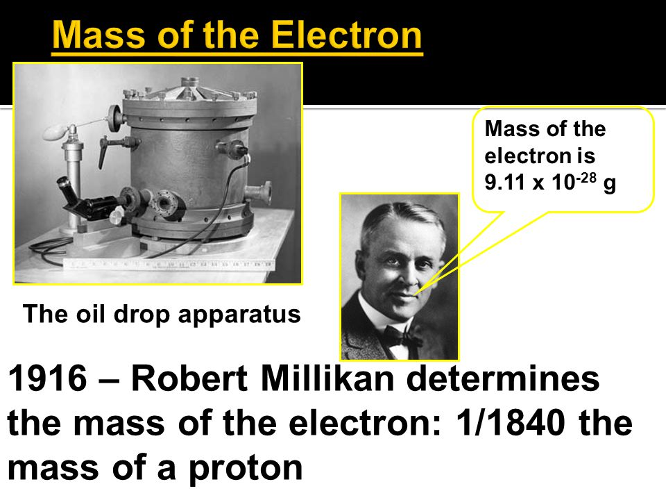 Mass of the Electron The oil drop apparatus. Mass of the electron is. 9.11 x 10-28 g.