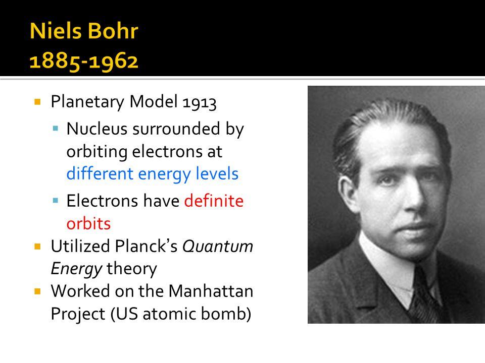 Niels Bohr 1885-1962 Planetary Model 1913