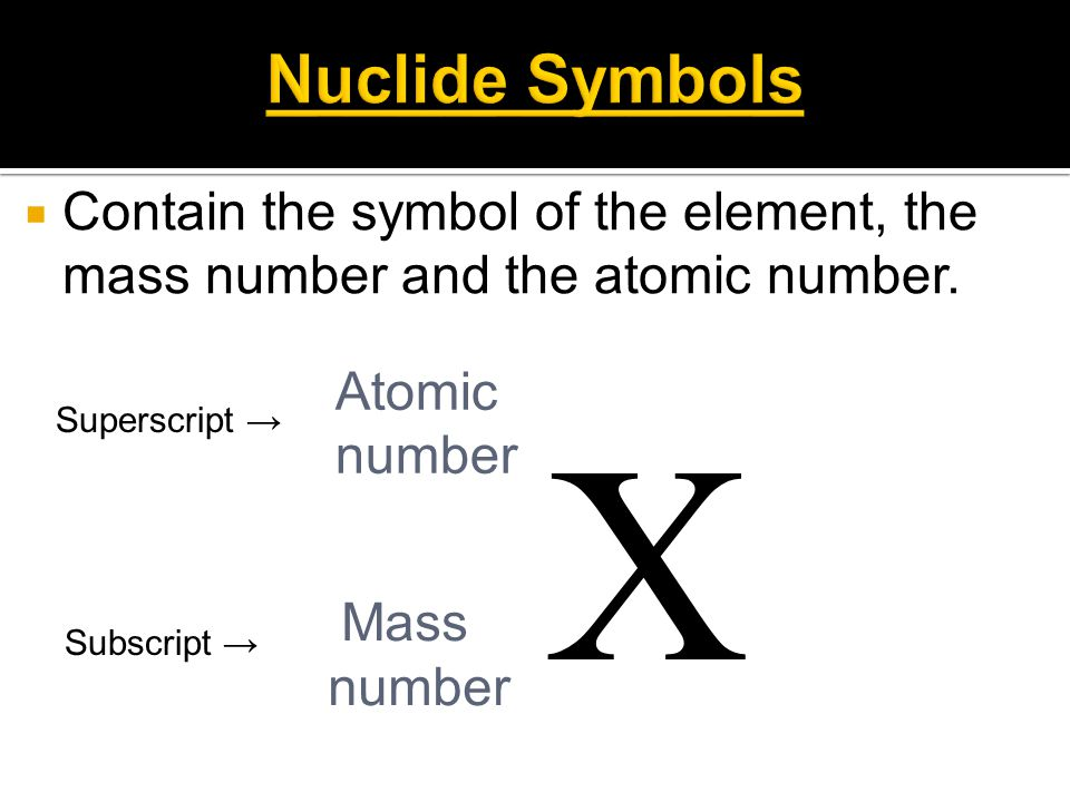 Nuclide Symbols Contain the symbol of the element, the mass number and the atomic number. Atomic. number.