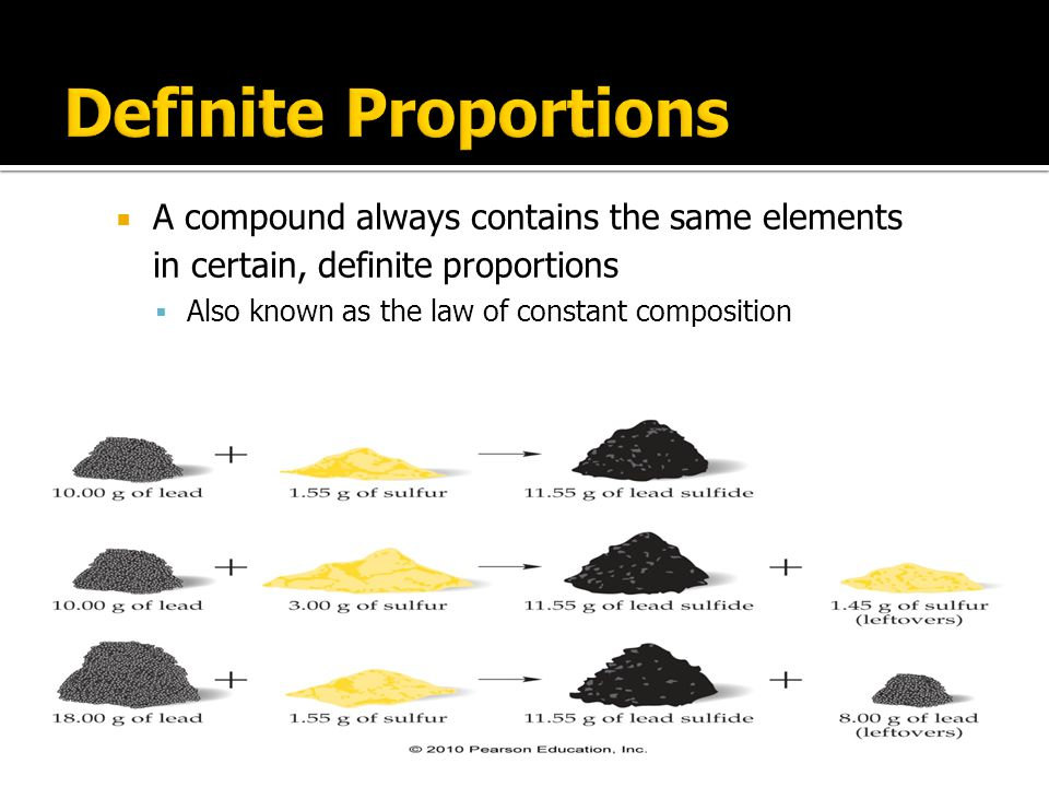Definite Proportions A compound always contains the same elements in certain, definite proportions.