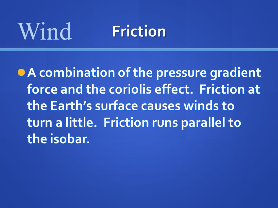 Wind Friction.