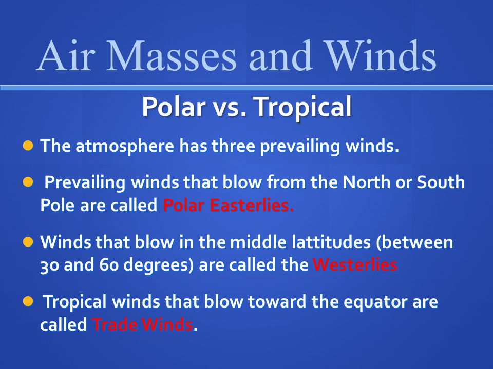 Air Masses and Winds Polar vs. Tropical