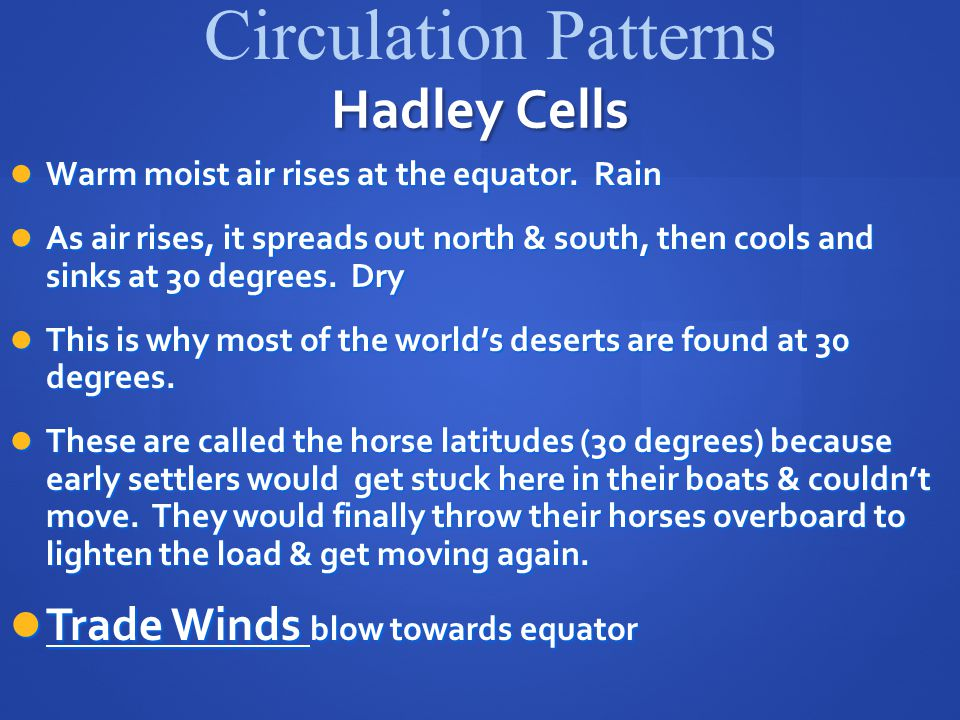 Circulation Patterns Hadley Cells Trade Winds blow towards equator