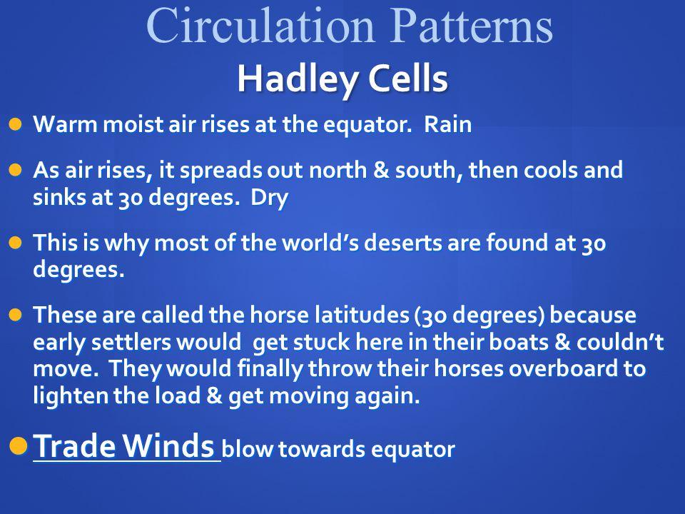 Circulation Patterns Hadley Cells Trade Winds blow towards equator