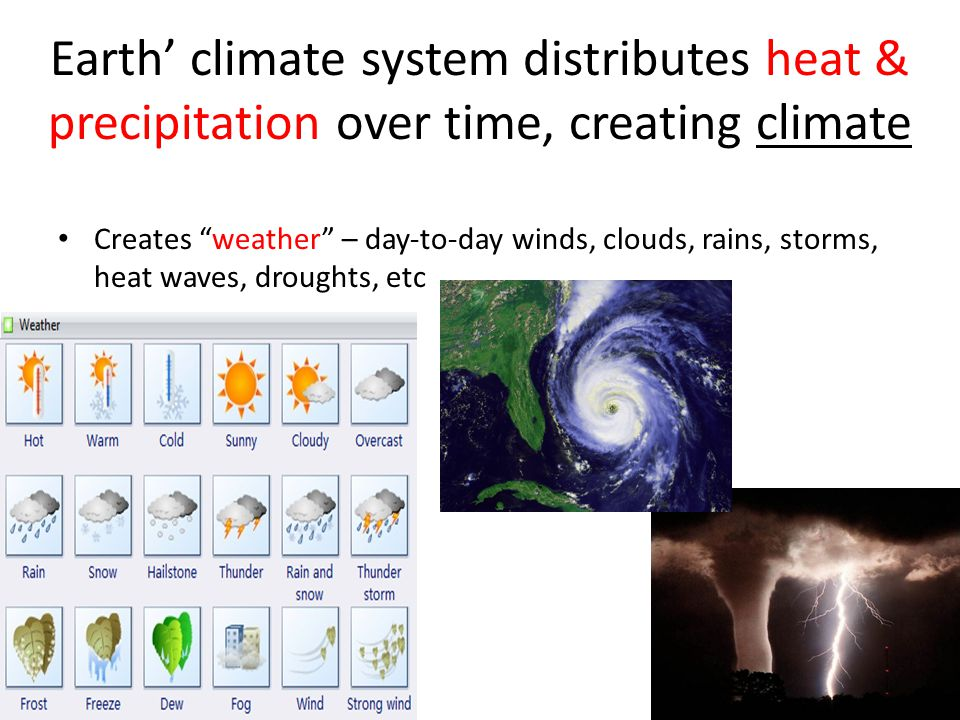 Earth' climate system distributes heat & precipitation over time, creating climate