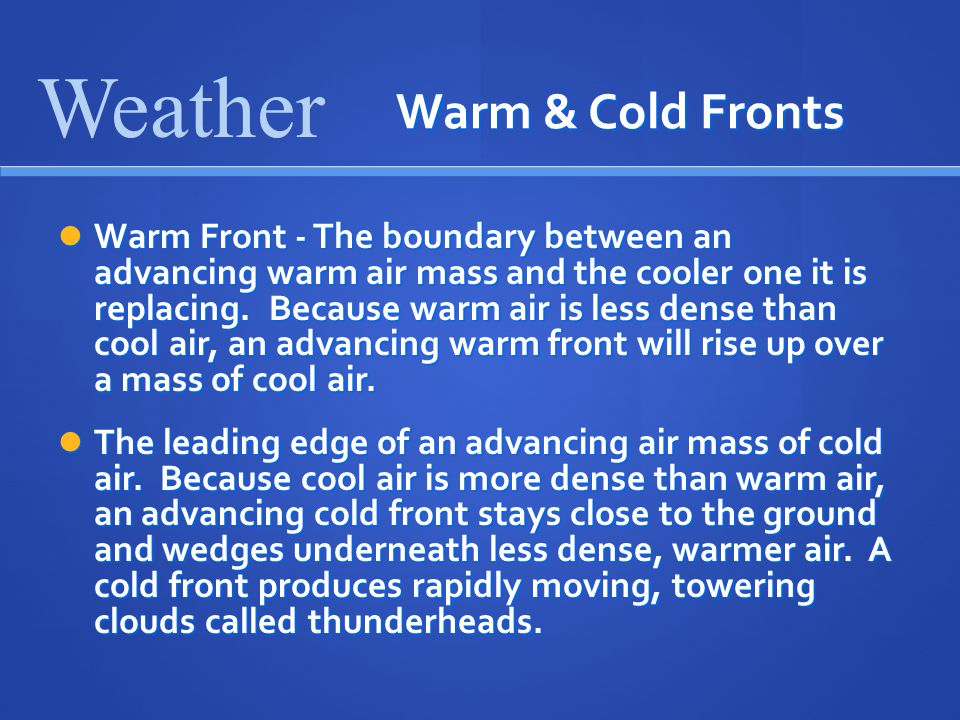 Weather Warm & Cold Fronts