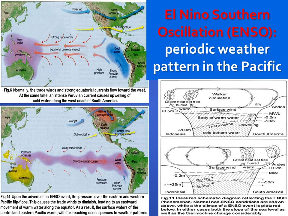 El Nino Southern Oscillation (ENSO): periodic weather pattern in the Pacific