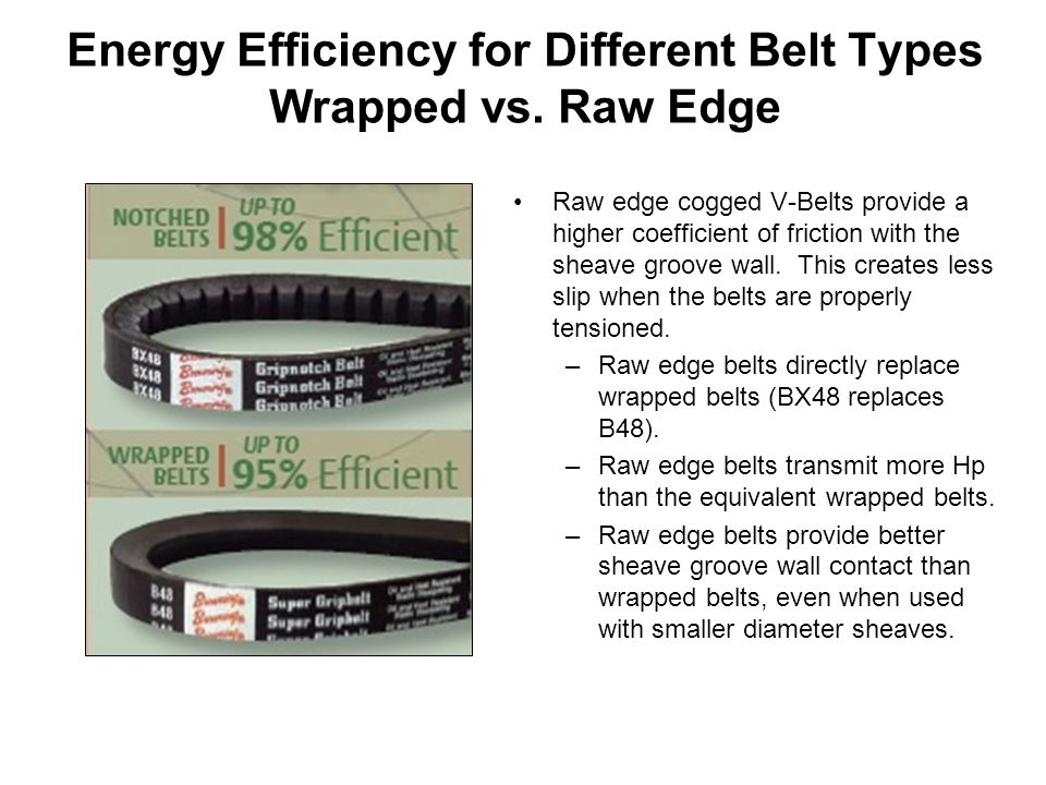 Energy Efficiency for Different Belt Types Wrapped vs. Raw Edge
