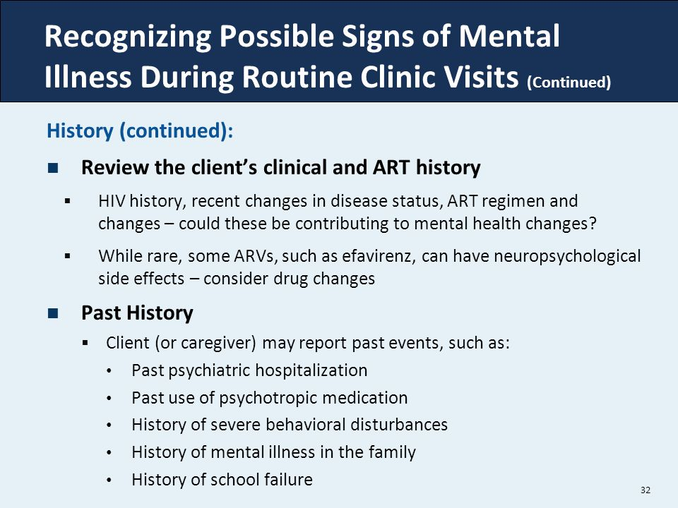 Recognizing Possible Signs of Mental Illness During Routine Clinic Visits (Continued)