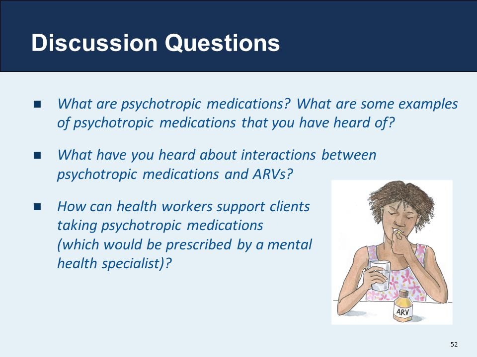 Discussion Questions What are psychotropic medications What are some examples of psychotropic medications that you have heard of