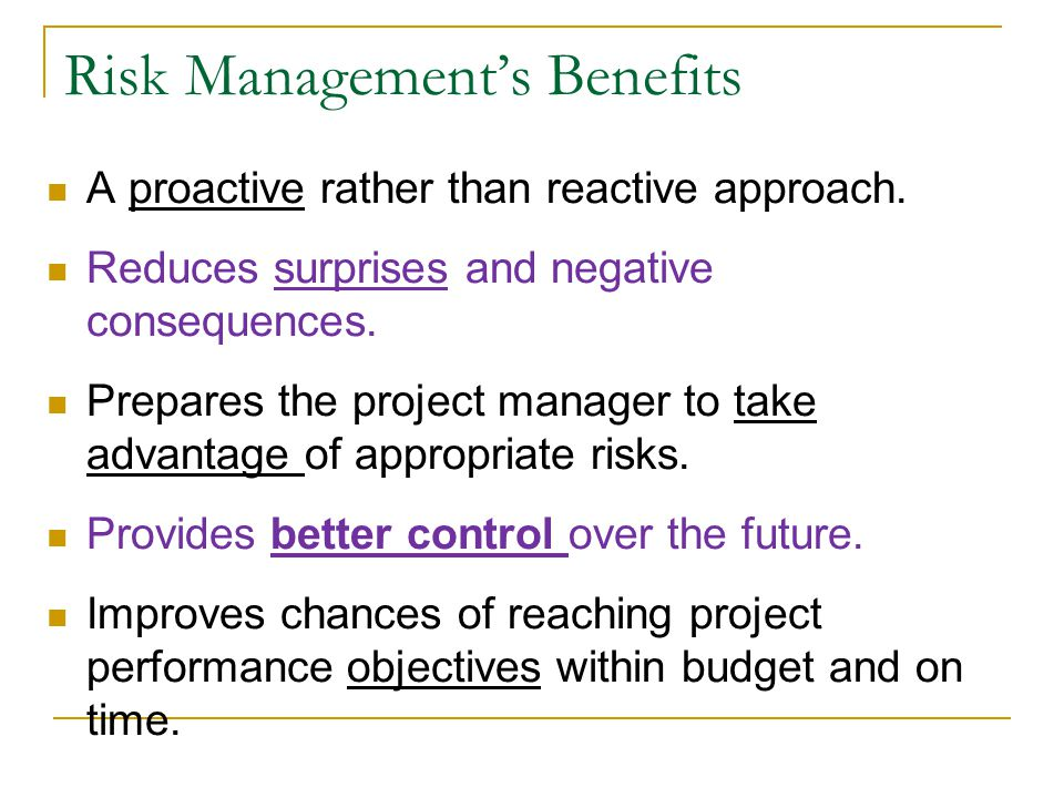 Risk Management's Benefits