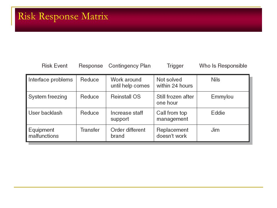 Risk Response Matrix