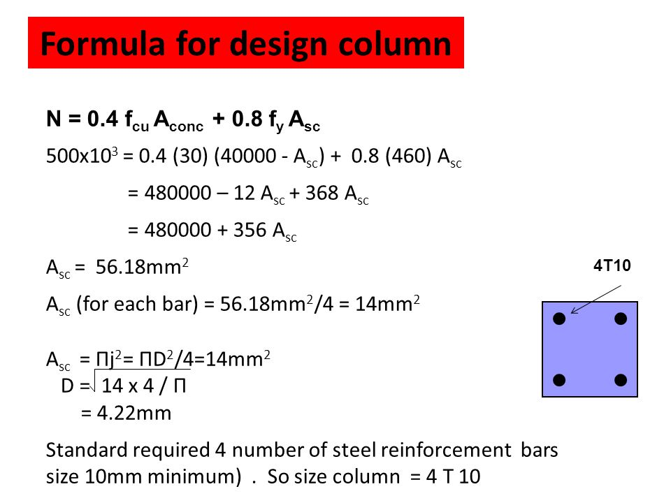 Formula for design column