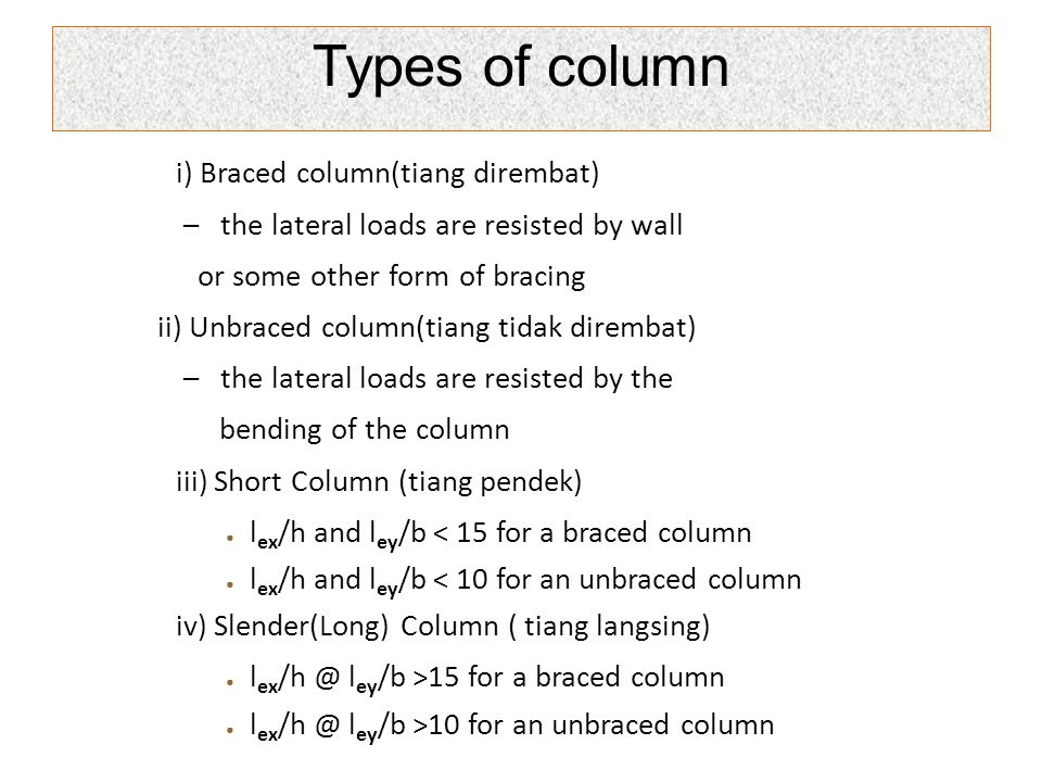 Types of column i) Braced column(tiang dirembat)
