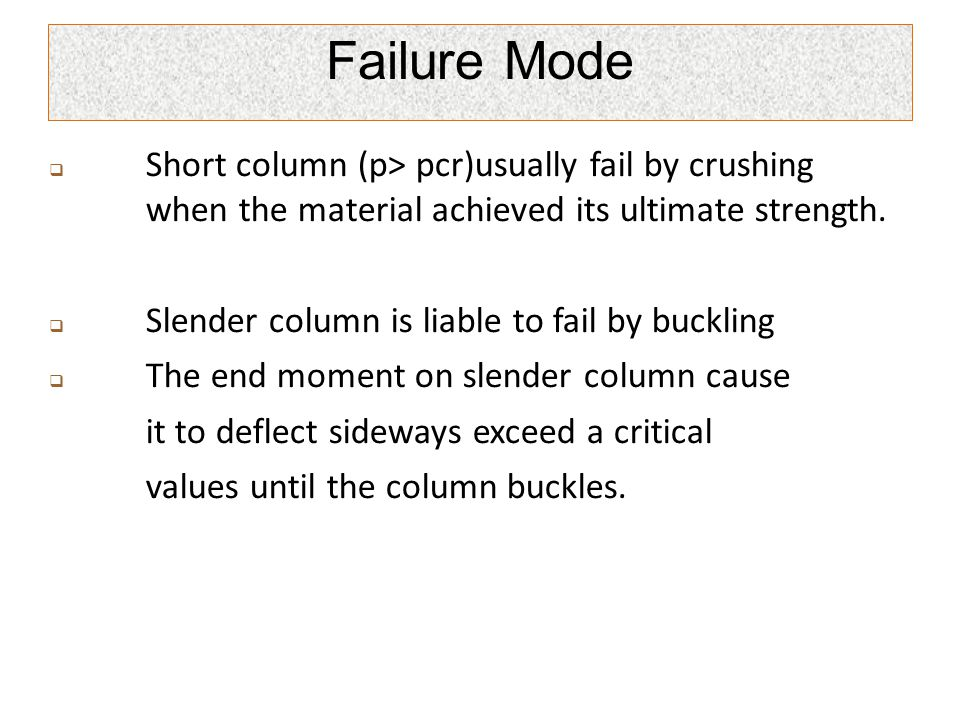 Failure Mode Short column (p> pcr)usually fail by crushing when the material achieved its ultimate strength.