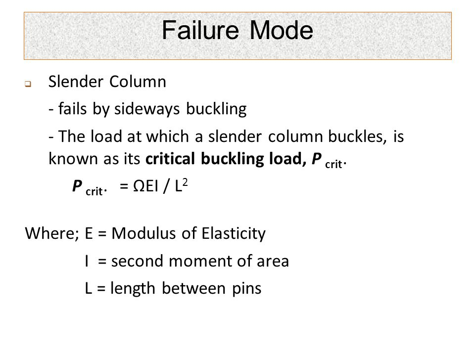 Failure Mode Slender Column - fails by sideways buckling