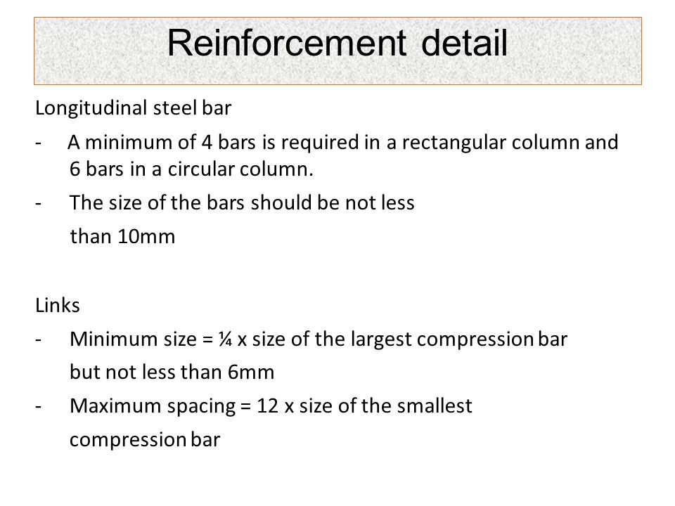 Reinforcement detail Longitudinal steel bar