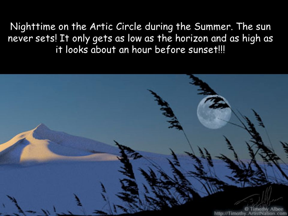 Nighttime on the Artic Circle during the Summer. The sun never sets