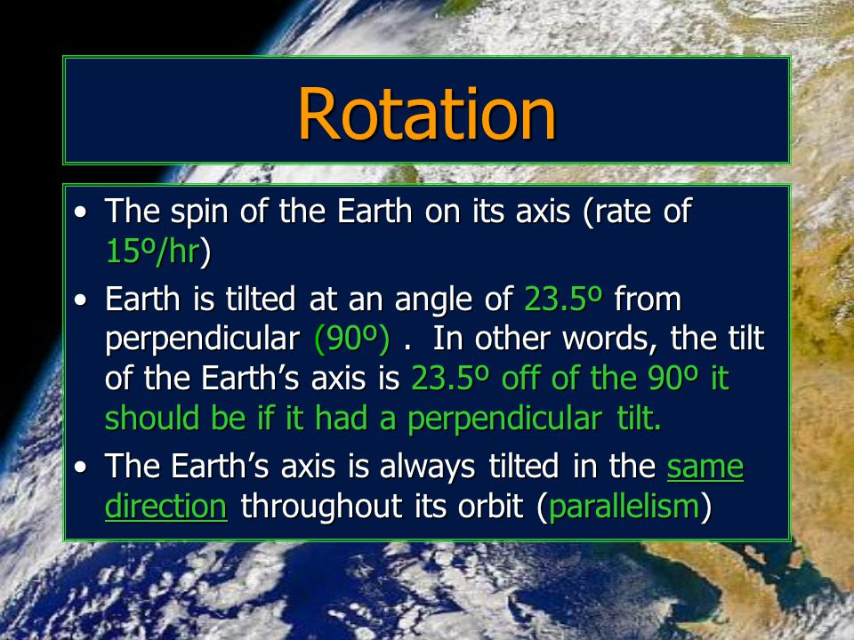 Rotation The spin of the Earth on its axis (rate of 15º/hr)