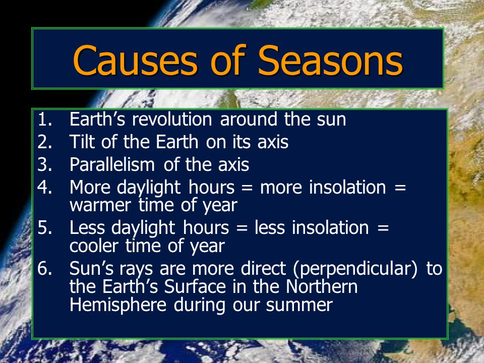 Causes of Seasons Earth's revolution around the sun