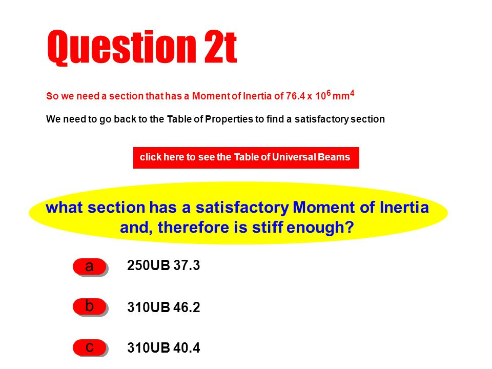 Question 2t what section has a satisfactory Moment of Inertia