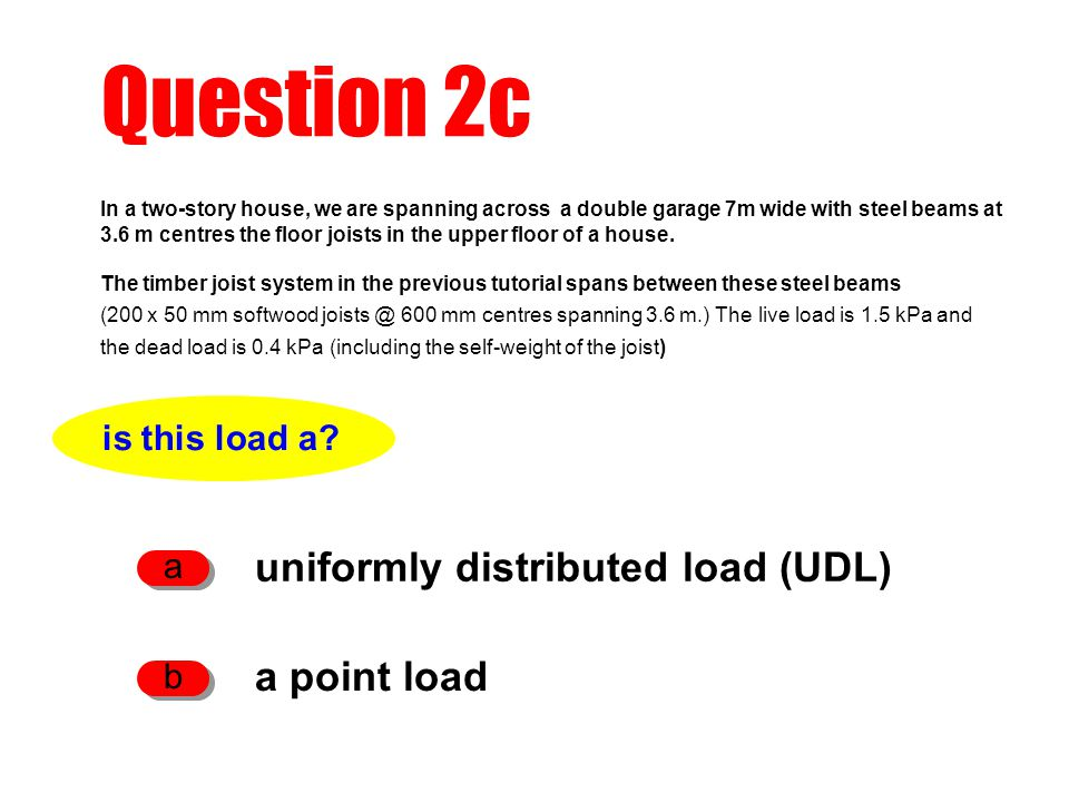 Question 2c uniformly distributed load (UDL) a point load